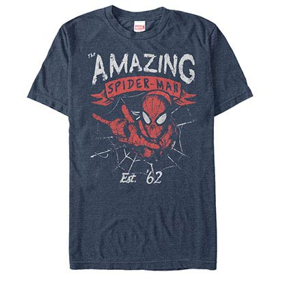 Spiderman Grunge Fwip Blue Mens T-Shirt