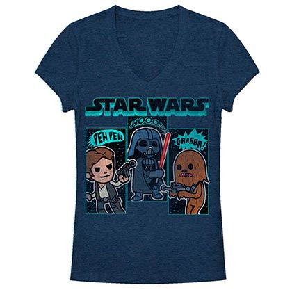 Star Wars Sound Effects Blue Juniors V Neck T-Shirt