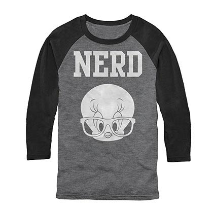 Looney Tunes Tweety Nerd Gray Baseball T-Shirt