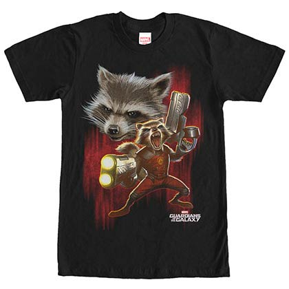 Guardians Of The Galaxy Twisted Rocket Black Mens T-Shirt