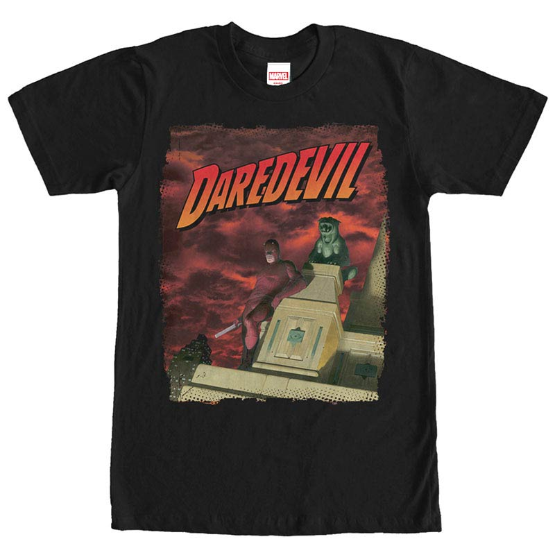 Daredevil Skyscraper Black Mens T-Shirt