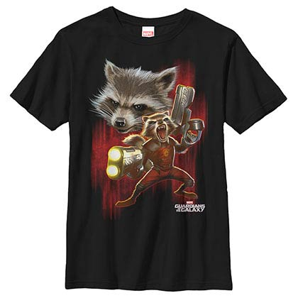 Guardians Of The Galaxy Twisted Rocket Black Youth T-Shirt