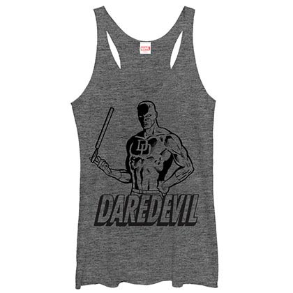 Daredevil Outline Gray Juniors Racerback Tank Top