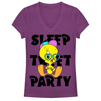 Looney Tunes Tweety Agenda Purple Juniors V Neck T-Shirt
