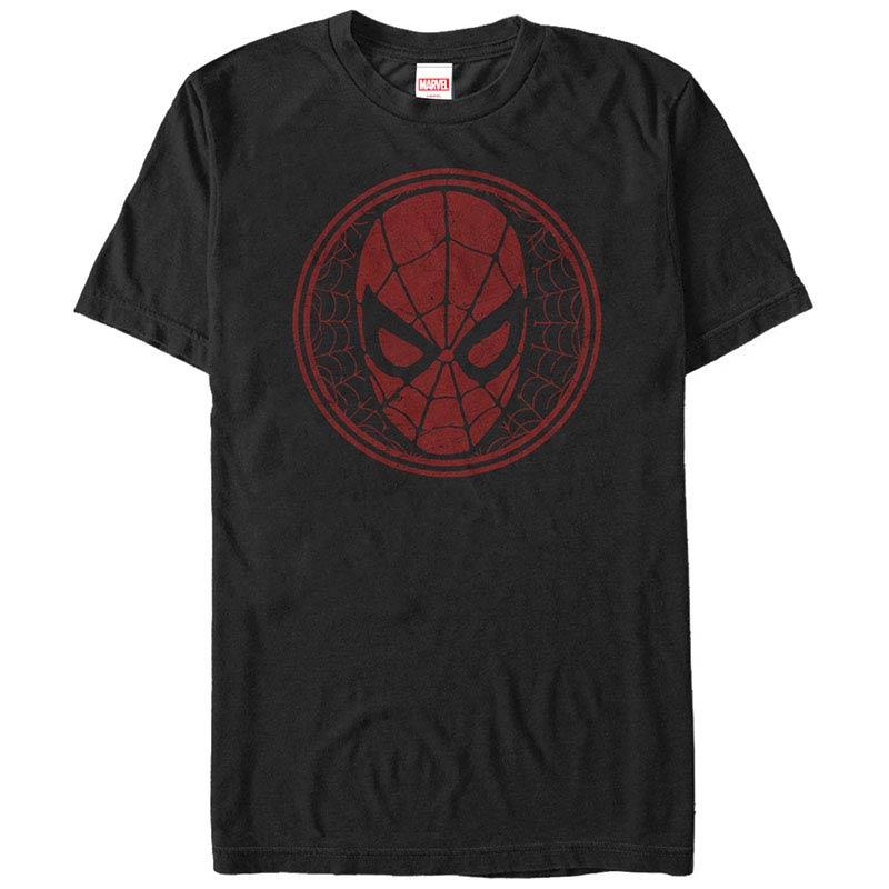 Spiderman SpiderWeb Icon Black Mens T-Shirt