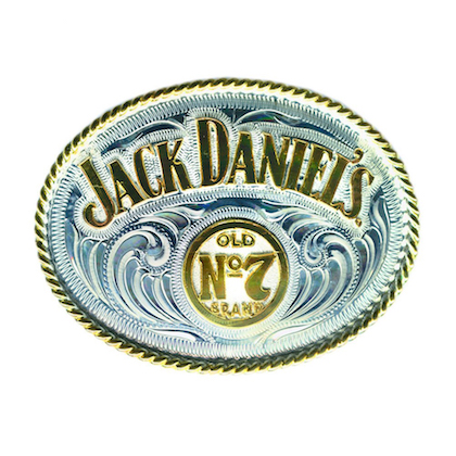 Jack Daniels Silver and Gold Belt Buckle