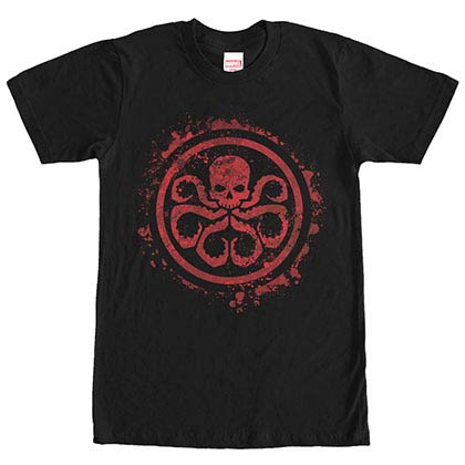 Avengers Hydra Splatter Icon Black Mens T-Shirt