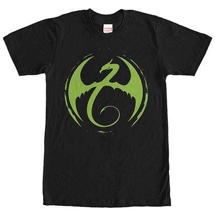 Marvel Teams Iron Fist Logo Black Mens T-Shirt