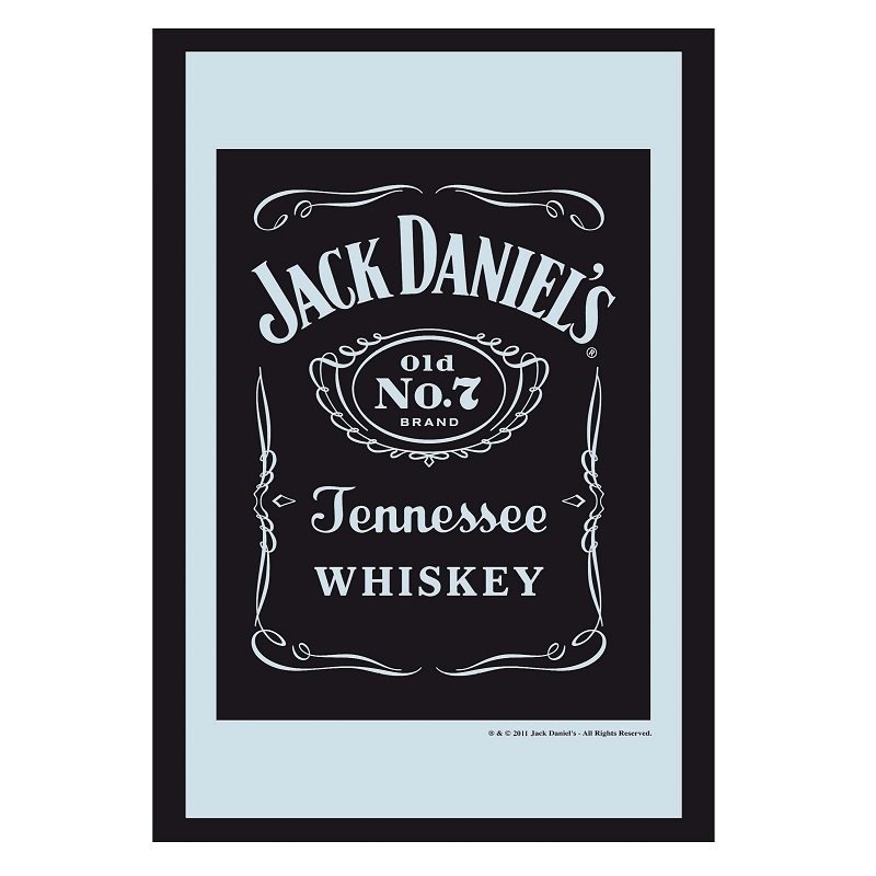 Jack Daniels Black Bottle Label 8x12 Bar Mirror