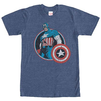 Captain America Captain Retro Blue Mens T-Shirt