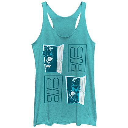 Disney Pixar Monsters Inc University Four Door Blue Juniors Racerback Tank Top