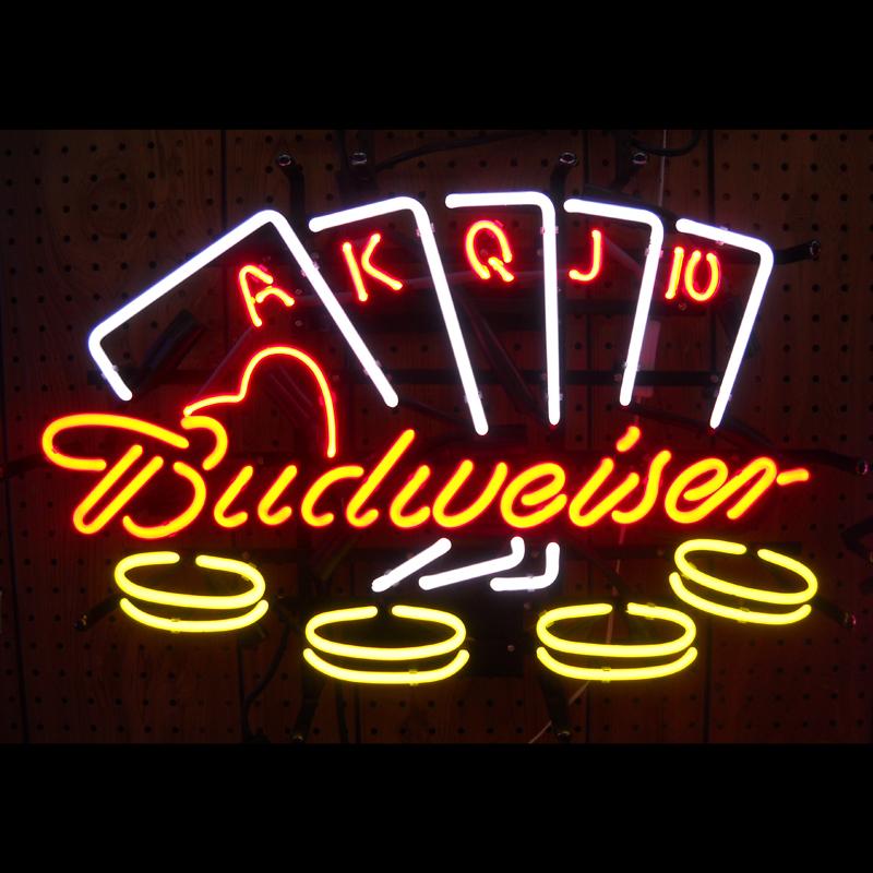 Best Bar Neon Lights: Budweiser Poker Neon Sign
