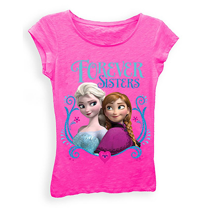 Disney Frozen Girls 7-16 Pink Forever Sisters T-Shirt