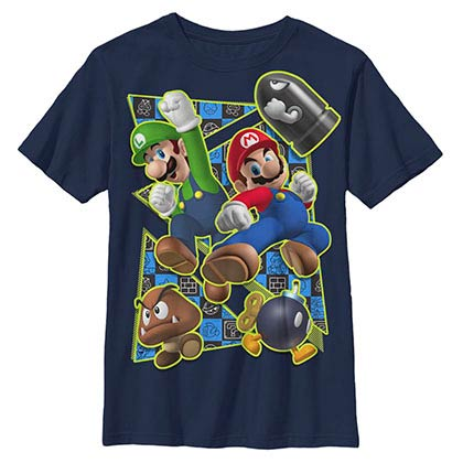 Nintendo Super Kicker Blue Youth T-Shirt