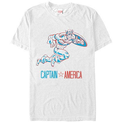 Captain America Three Dimensional Cap White Mens T-Shirt