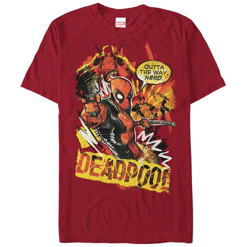 Deadpool Scribbles Red Mens T-Shirt