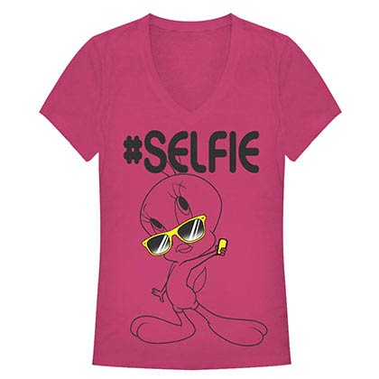 Looney Tunes Selfie Pink Juniors V Neck T-Shirt