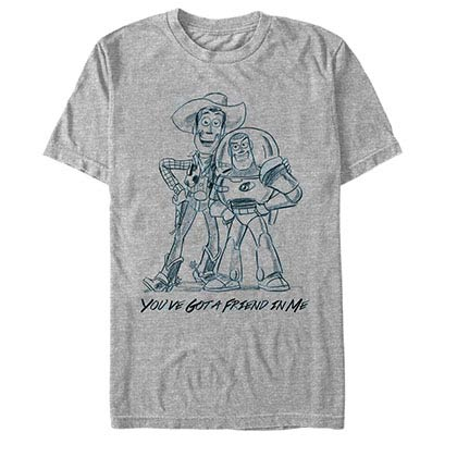 Disney Pixar Toy Story 1-3 Sketch Friends Gray T-Shirt
