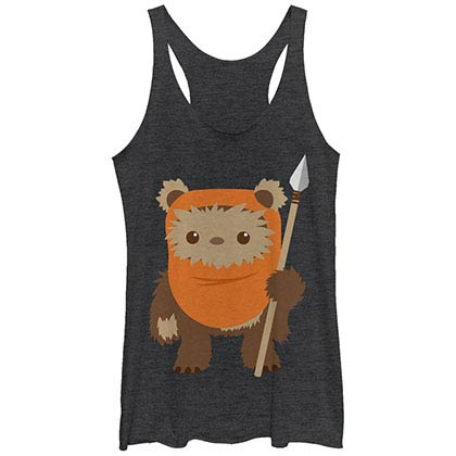 Star Wars Ewok Spear Black Juniors Racerback Tank Top