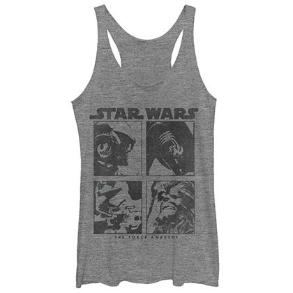 Star Wars Episode 7 Blocked Gray Juniors Racerback Tank Top
