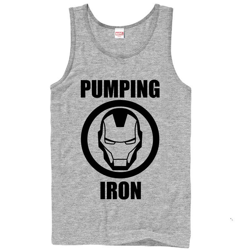 Iron Man Pump Gray Mens Tank Top