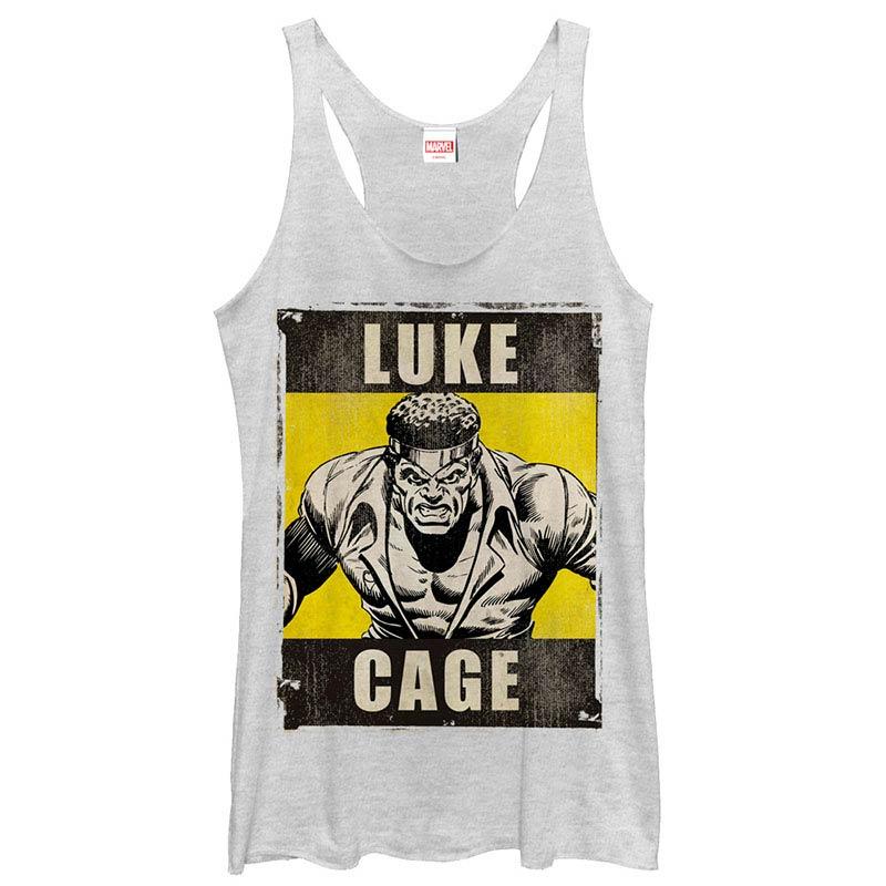 Avengers Luke Cage White Juniors Racerback Tank Top