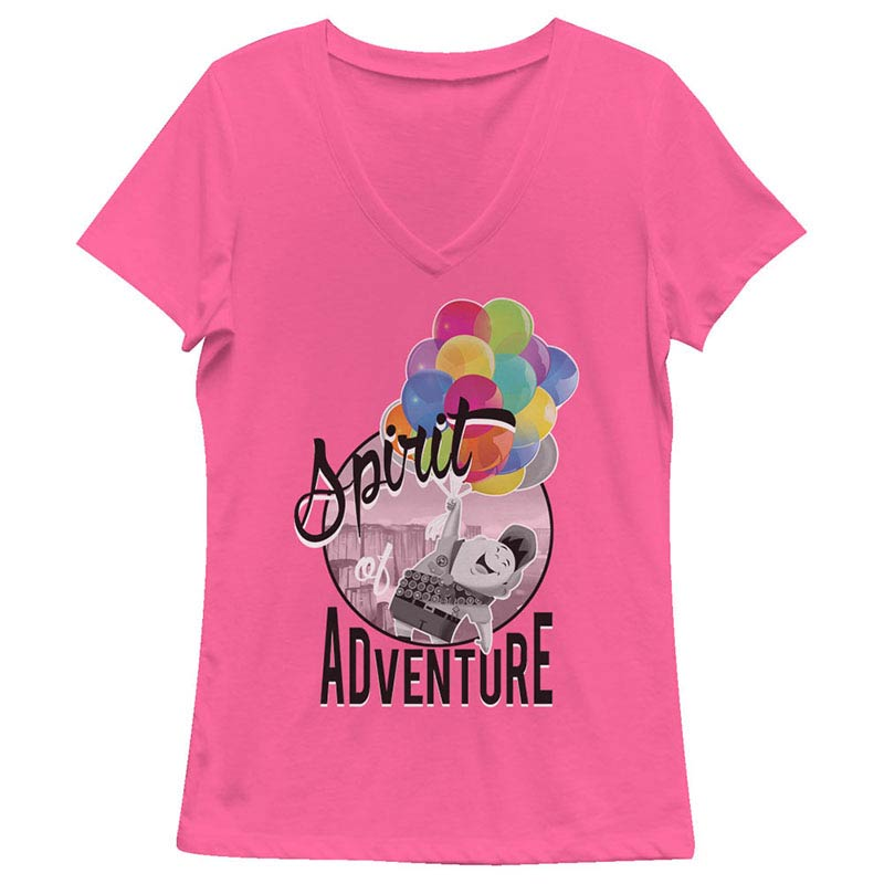 Disney Pixar Up Spirit Of Adventure Pink Juniors V Neck T-Shirt