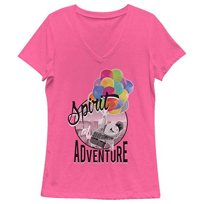 Disney Pixar Up Spirit Of Adventure Pink Juniors V Neck T-Shirt