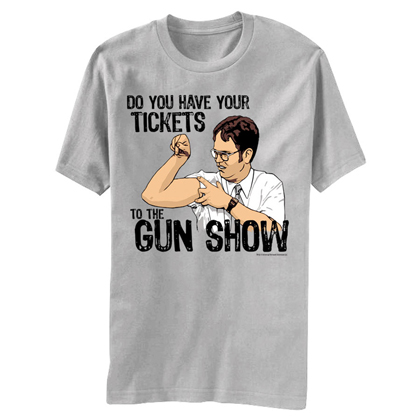 The Office Dwight Gun Show Grey Graphic Tee Shirt