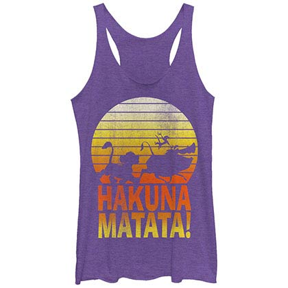 Disney Lion King Hakunas Purple Juniors Racerback Tank Top