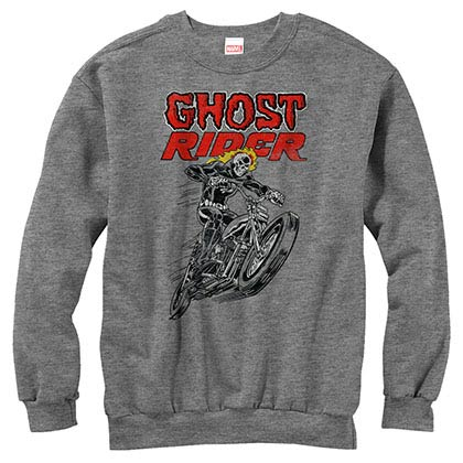 Ghost Rider Hot Head Gray Mens Long Sleeve T-Shirt