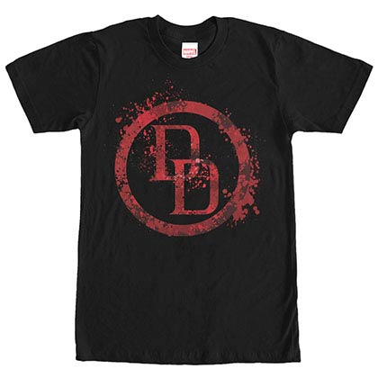 Daredevil DD Splatter Icon Black Mens T-Shirt