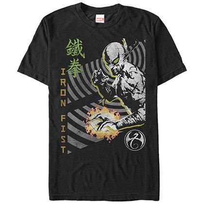 Marvel Teams Iron Fist Vortex Black Mens T-Shirt