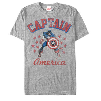Captain America The Old Captain Gray Mens T-Shirt