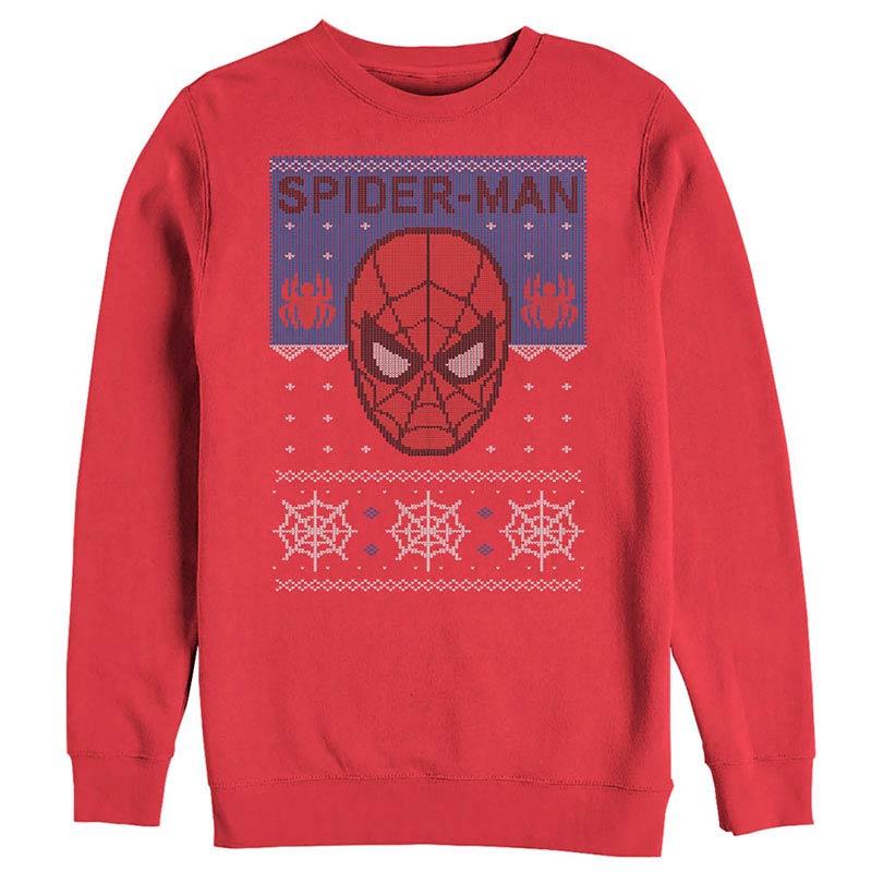 5b4e565e Spiderman Ugly Christmas Red Mens Long Sleeve T-Shirt | SuperheroDen.com