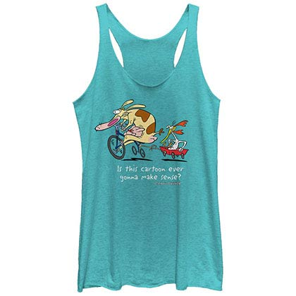 Cow & Chicken Show Makes No Sense Blue Juniors Racerback Tank Top