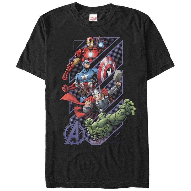 Avengers Assemble Geometrics Black Mens T-Shirt