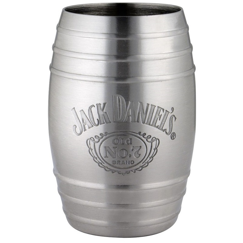 Jack Daniels Bottle Logo Barrel Stainless Steel Shot Glass