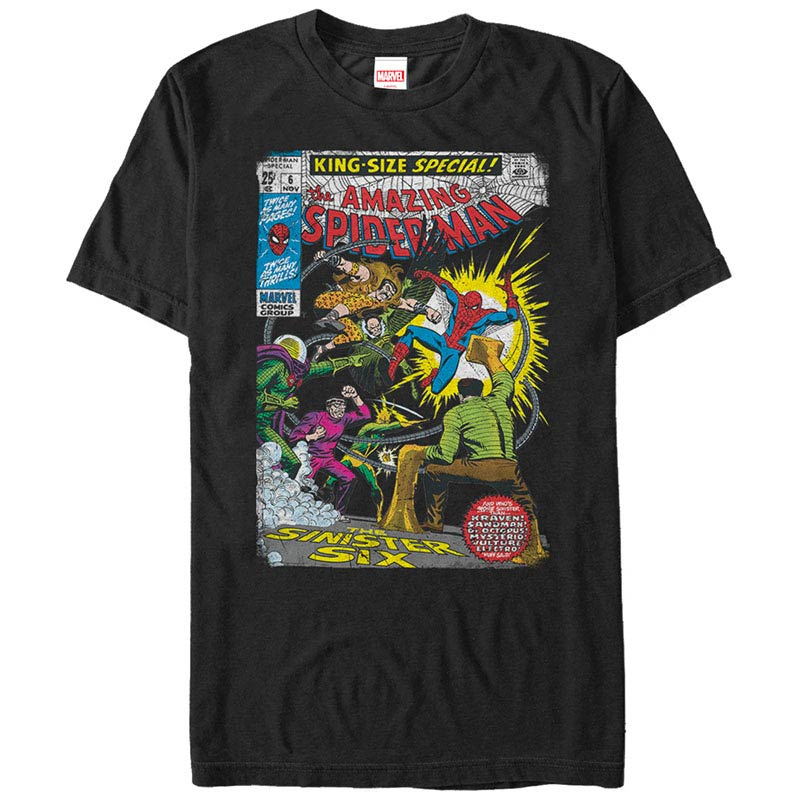 Spiderman Sinister 6 Comic Black Mens T-Shirt