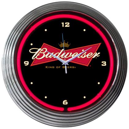 Budweiser Bowtie Neon Clock