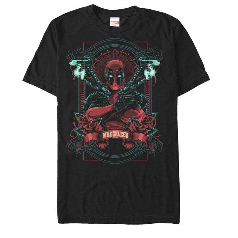 Deadpool Wreckless Black Mens T-Shirt