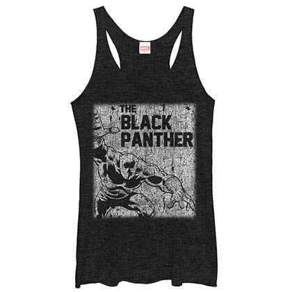 Black Panther Chalk Black Juniors Racerback Tank Top