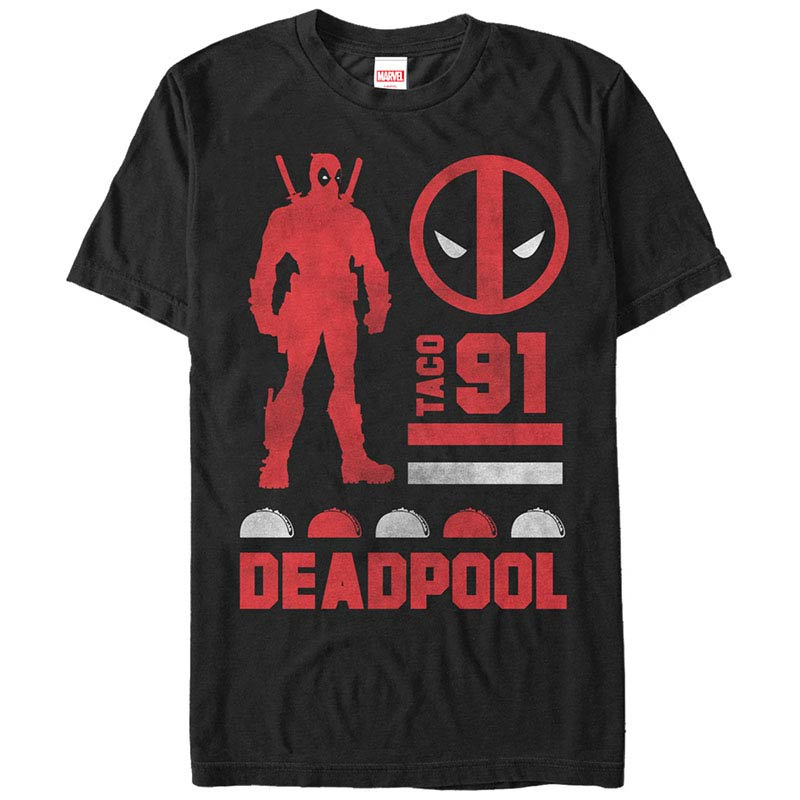 Deadpool Sil Black Mens T-Shirt