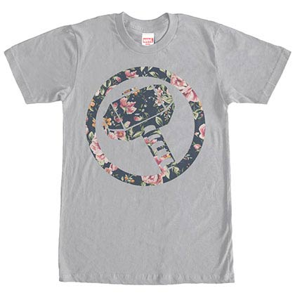 Thor In Floral Gray Mens T-Shirt