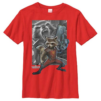Guardians Of The Galaxy Racoon Gun Red Youth T-Shirt