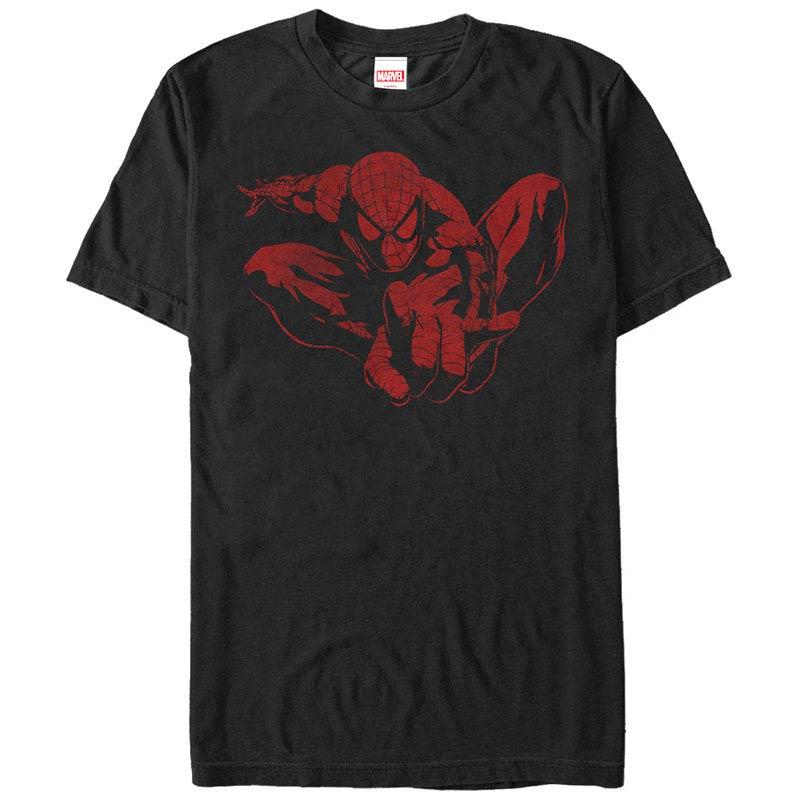 Spiderman Spider Leap Tonal Black Mens T-Shirt