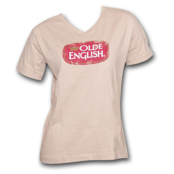 Olde English Distressed Oval Logo Tan Womens Graphic Tee Shirt