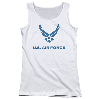 US Air Force Logo White Juniors Tank Top