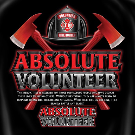 Red and Black Firefighter Absolute Volunteer Tee Shirt