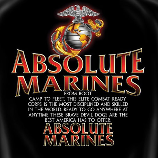 Absolute Marines Patriotic Tee Shirt - Black